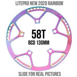 Chainring Litepro 58T BCD 130mm - Titanium Rainbow
