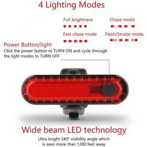 Lampu Belakang Sepeda USB 4 Mode Cahaya Anti Air 1