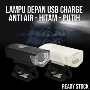 Lampu depan sepeda USB Charger 3 Mode Cahaya